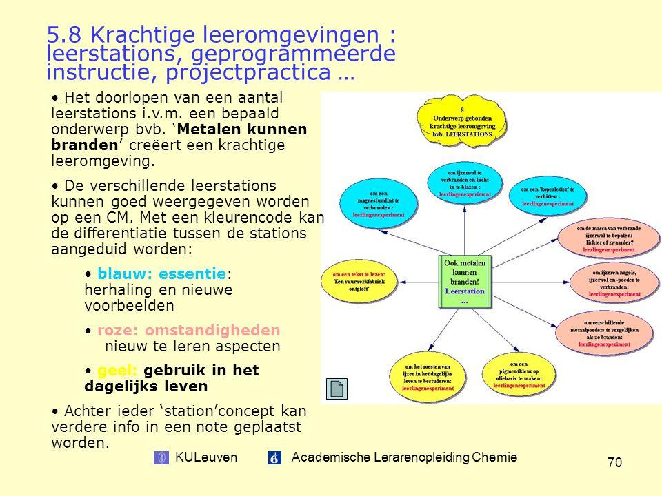 KULeuven Academische Lerarenopleiding Chemie 70 Het doorlopen van een aantal leerstations i.v.m.