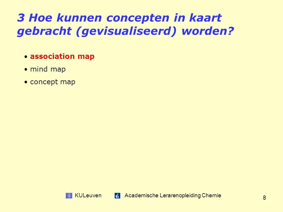KULeuven Academische Lerarenopleiding Chemie 8 3 Hoe kunnen concepten in kaart gebracht (gevisualiseerd) worden.