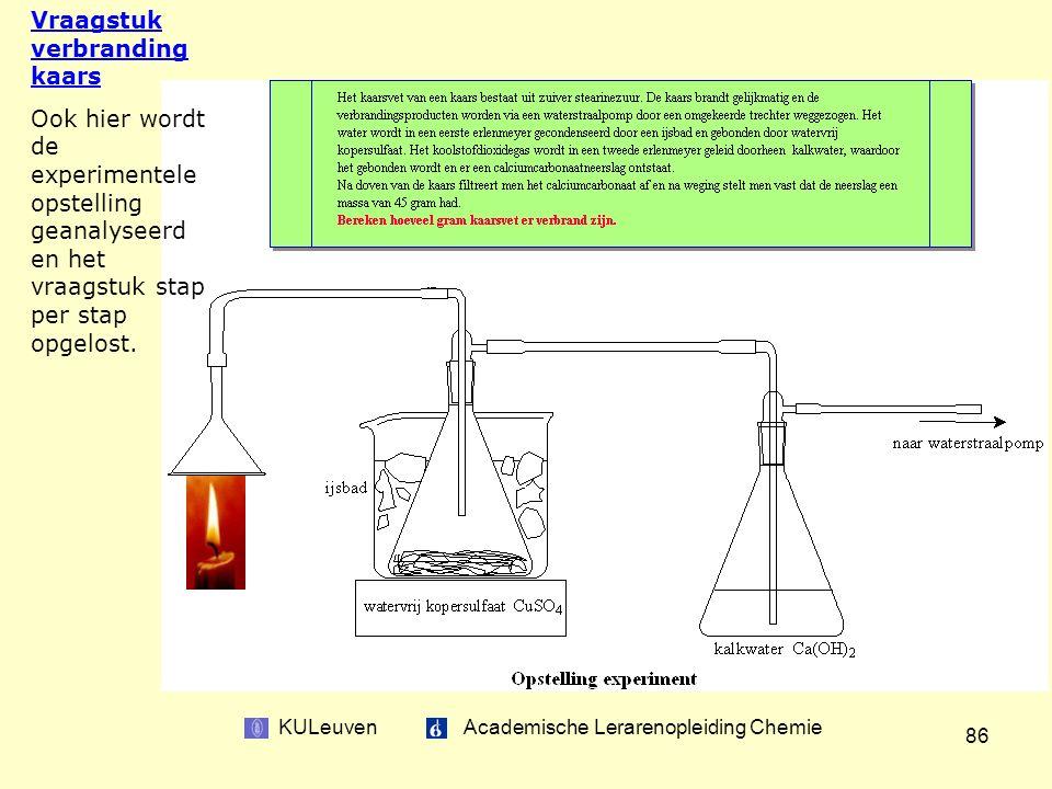 KULeuven Academische Lerarenopleiding Chemie 86 Vraagstuk verbranding kaars Ook hier wordt de experimentele opstelling geanalyseerd en het vraagstuk stap per stap opgelost.