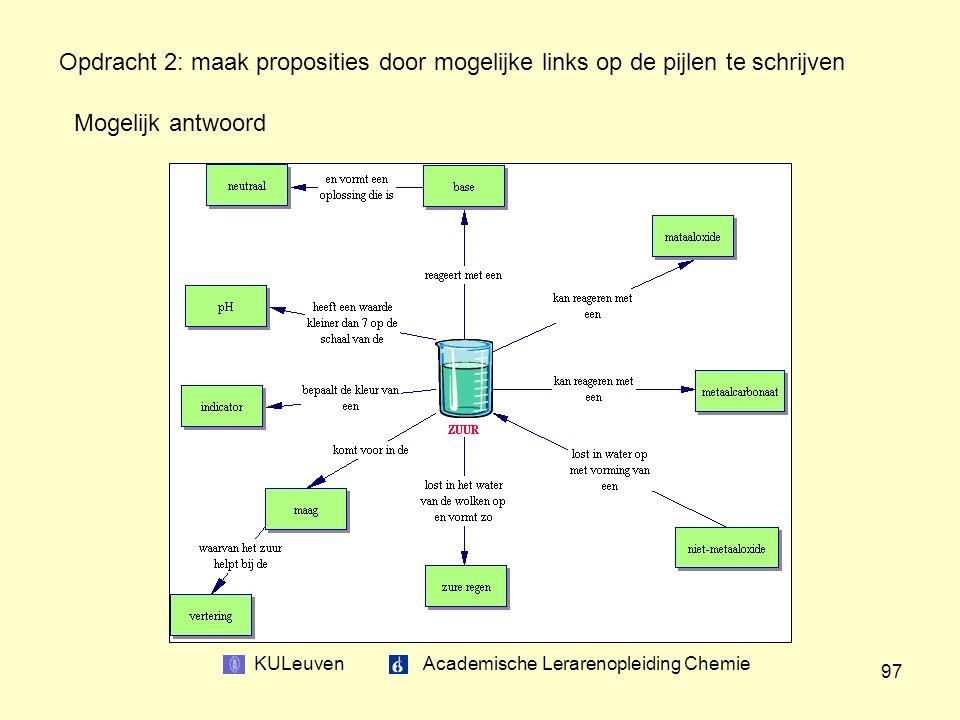 KULeuven Academische Lerarenopleiding Chemie 97 Opdracht 2: maak proposities door mogelijke links op de pijlen te schrijven Mogelijk antwoord