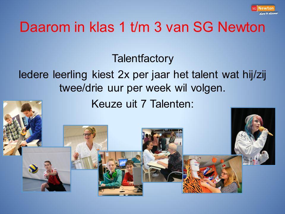 Daarom in klas 1 t/m 3 van SG Newton Talentfactory Iedere leerling kiest 2x per jaar het talent wat hij/zij twee/drie uur per week wil volgen.
