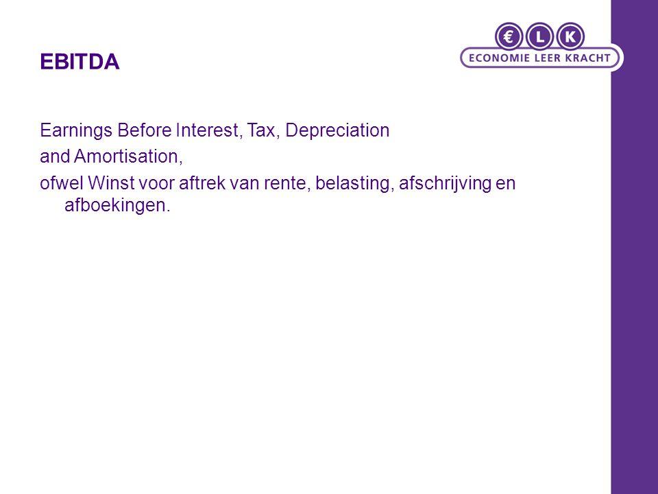 EBITDA Earnings Before Interest, Tax, Depreciation and Amortisation, ofwel Winst voor aftrek van rente, belasting, afschrijving en afboekingen.