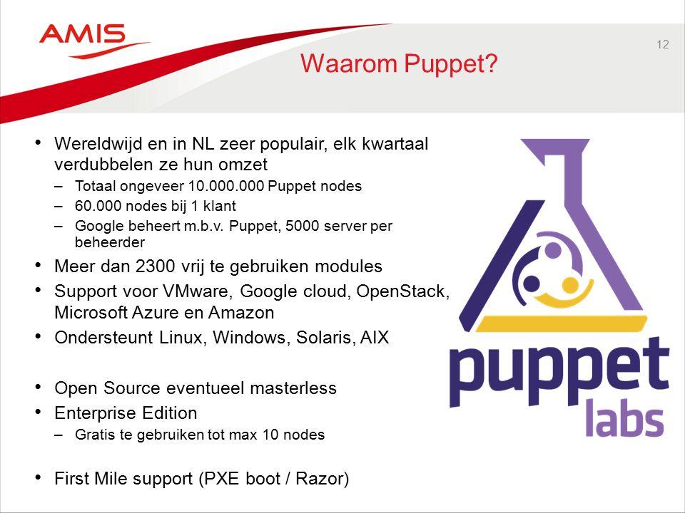 12 Waarom Puppet? Wereldwijd en in NL zeer populair, elk kwartaal verdubbelen ze hun omzet –Totaal ongeveer 10.000.000 Puppet nodes –60.000 nodes bij