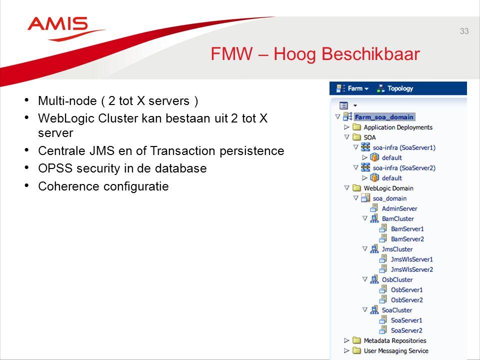 33 FMW – Hoog Beschikbaar Multi-node ( 2 tot X servers ) WebLogic Cluster kan bestaan uit 2 tot X server Centrale JMS en of Transaction persistence OPSS security in de database Coherence configuratie