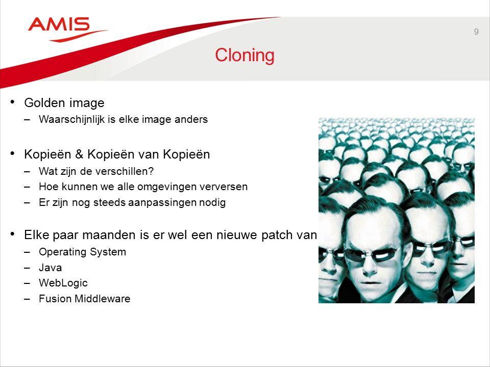 9 Cloning Golden image –Waarschijnlijk is elke image anders Kopieën & Kopieën van Kopieën –Wat zijn de verschillen.