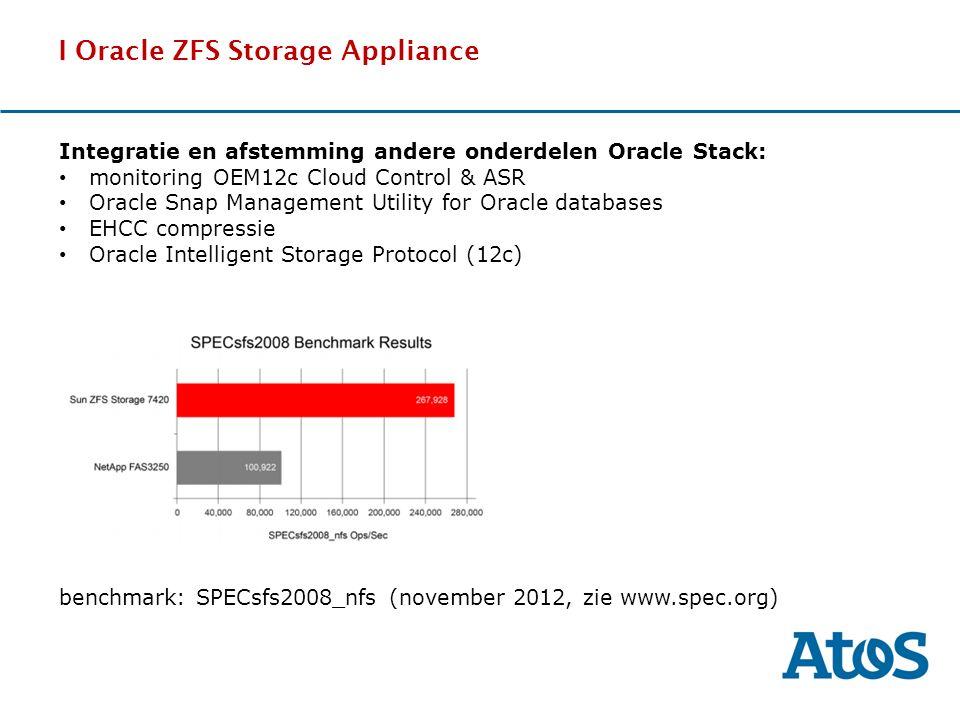 17-11-2011 I Oracle ZFS Storage Appliance DDdDDd benchmark: SPECsfs2008_nfs (november 2012, zie www.spec.org) Integratie en afstemming andere onderdel