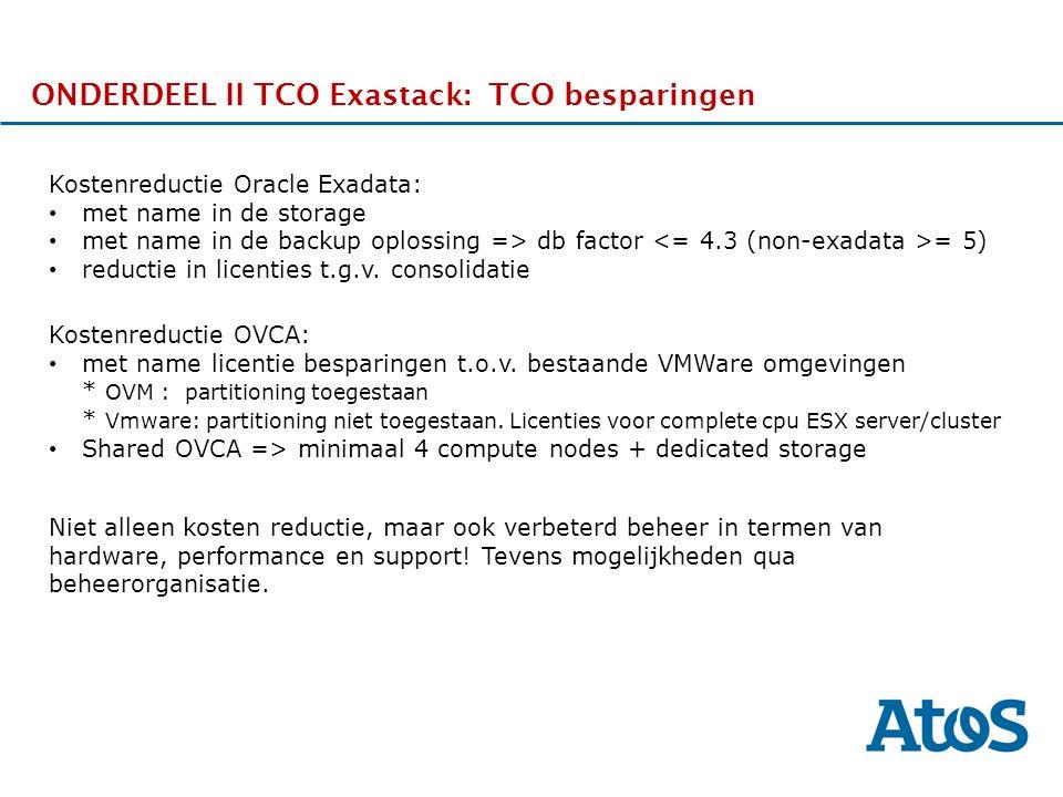 17-11-2011 ONDERDEEL II TCO Exastack: TCO besparingen Kostenreductie Oracle Exadata: met name in de storage met name in de backup oplossing => db fact