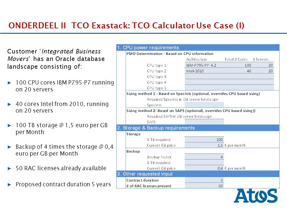 17-11-2011 ONDERDEEL II TCO Exastack: TCO Calculator Use Case (I) Customer 'Integrated Business Movers' has an Oracle database landscape consisting of