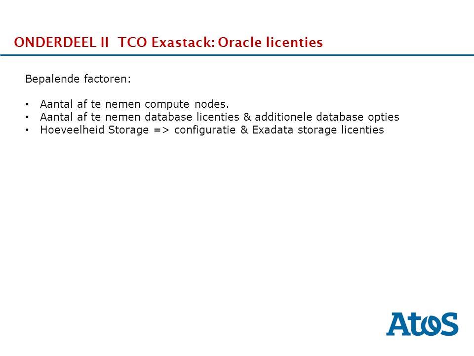 17-11-2011 ONDERDEEL II TCO Exastack: Oracle licenties Bepalende factoren: Aantal af te nemen compute nodes.