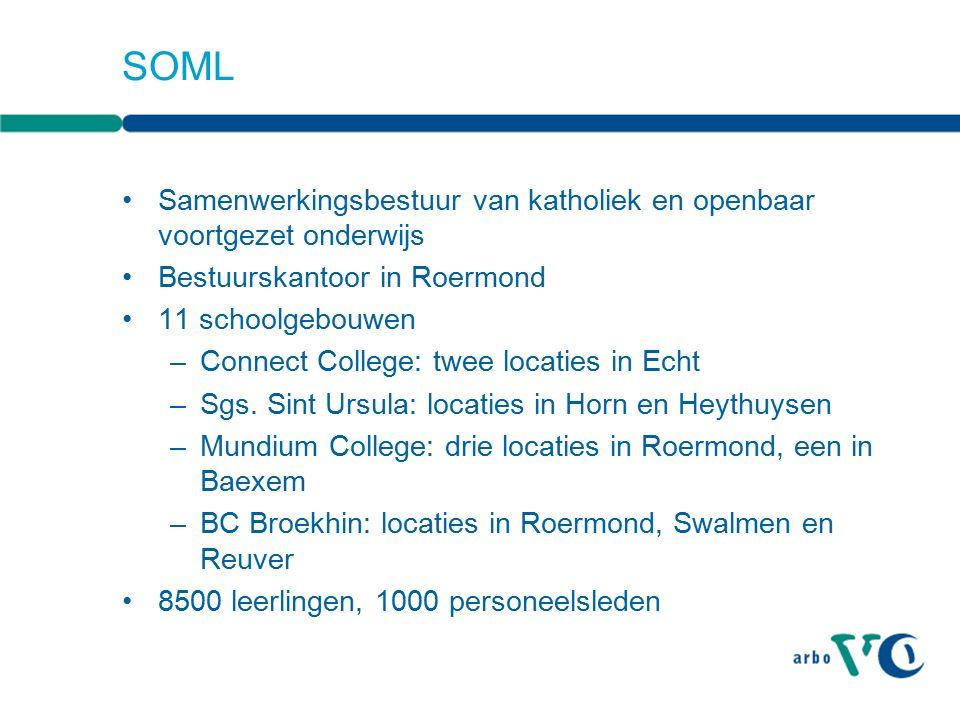 SOML Samenwerkingsbestuur van katholiek en openbaar voortgezet onderwijs Bestuurskantoor in Roermond 11 schoolgebouwen –Connect College: twee locaties in Echt –Sgs.
