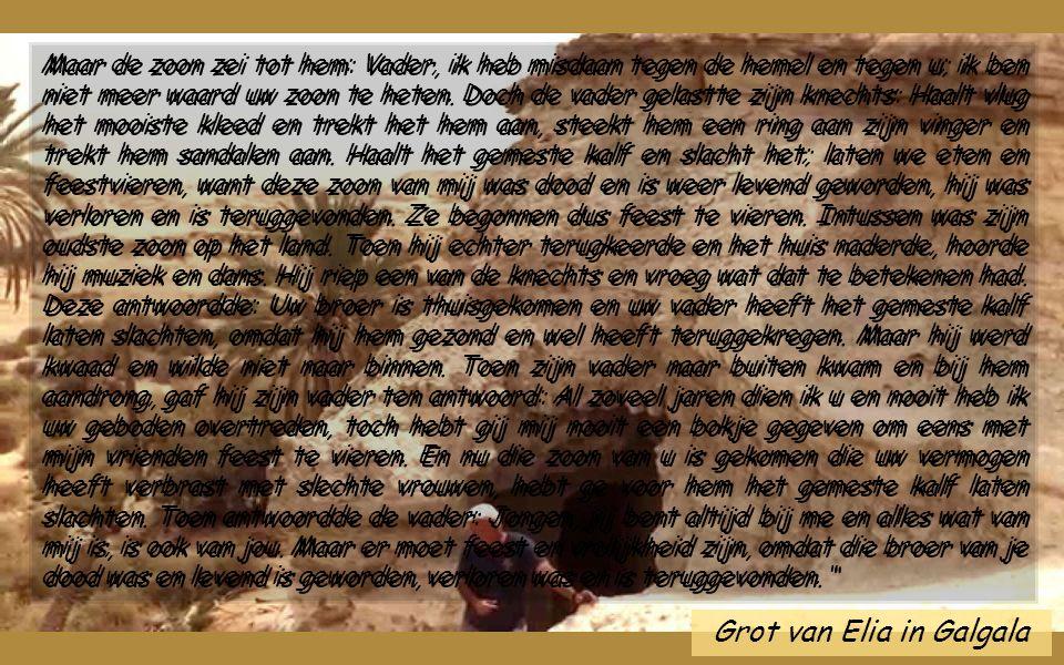 Weg naar Galgala Lc 15,1-3.11-32 In die tijd kwamen de tollenaars en zondaars van allerlei slag bij Jezus om naar Hem te luisteren. De Farizeeën en de