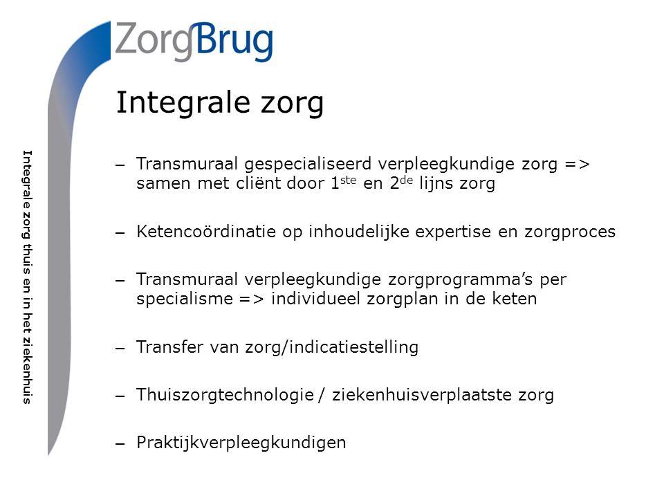 Integrale zorg thuis en in het ziekenhuis Integrale zorg – Transmuraal gespecialiseerd verpleegkundige zorg => samen met cliënt door 1 ste en 2 de lij
