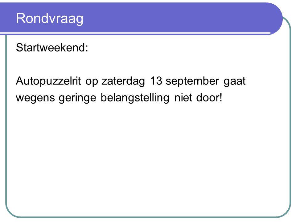 Rondvraag Startweekend: Autopuzzelrit op zaterdag 13 september gaat wegens geringe belangstelling niet door!