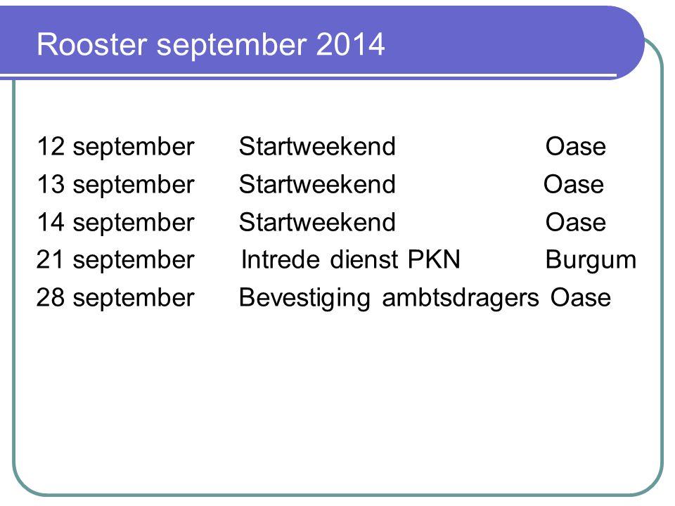 Tijdelijke invulling vacature Vanaf september 2014 ds.