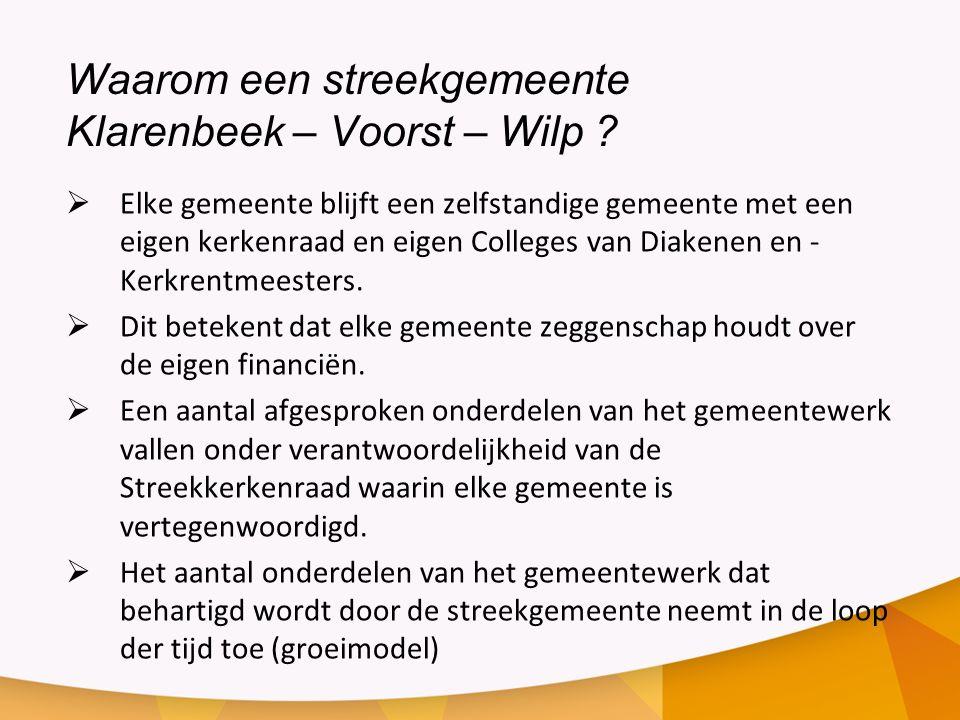 Waarom een streekgemeente Klarenbeek – Voorst – Wilp ?  Elke gemeente blijft een zelfstandige gemeente met een eigen kerkenraad en eigen Colleges van