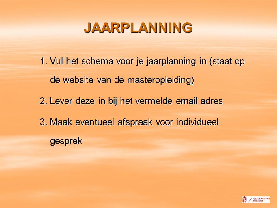 JAARPLANNING 1. Vul het schema voor je jaarplanning in (staat op de website van de masteropleiding) 2. Lever deze in bij het vermelde email adres 3. M