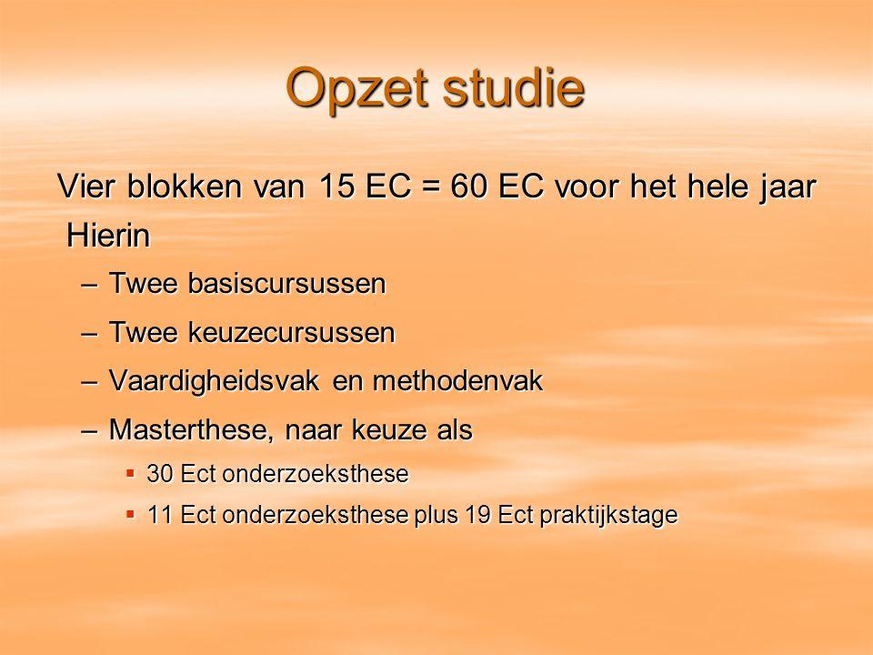 Opzet studie Vier blokken van 15 EC = 60 EC voor het hele jaar Hierin Hierin –Twee basiscursussen –Twee keuzecursussen –Vaardigheidsvak en methodenvak
