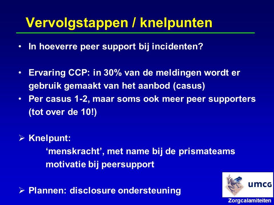 Zorgcalamiteiten Vervolgstappen / knelpunten In hoeverre peer support bij incidenten.