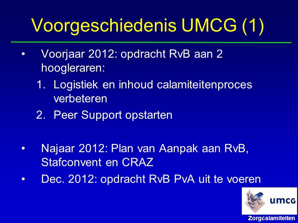Zorgcalamiteiten Voorgeschiedenis UMCG (1) Voorjaar 2012: opdracht RvB aan 2 hoogleraren: 1.Logistiek en inhoud calamiteitenproces verbeteren 2.Peer Support opstarten Najaar 2012: Plan van Aanpak aan RvB, Stafconvent en CRAZ Dec.