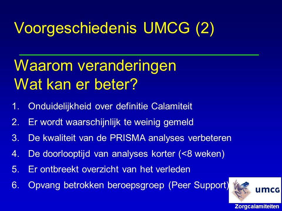 Zorgcalamiteiten Voorgeschiedenis UMCG (2) Waarom veranderingen Wat kan er beter.