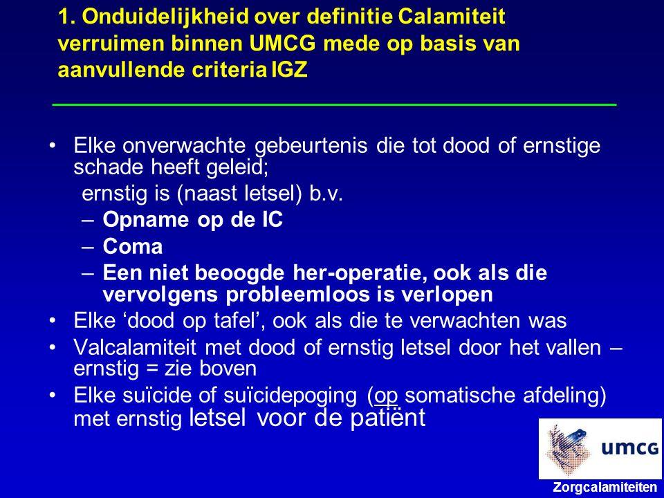Zorgcalamiteiten Elke onverwachte gebeurtenis die tot dood of ernstige schade heeft geleid; ernstig is (naast letsel) b.v.
