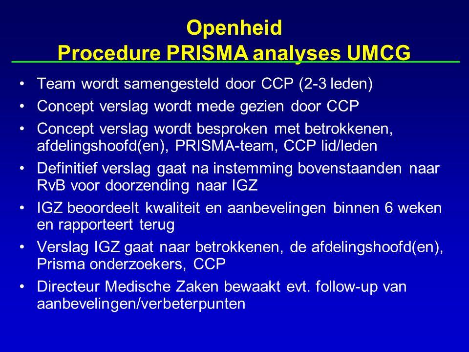 Openheid Procedure PRISMA analyses UMCG Team wordt samengesteld door CCP (2-3 leden) Concept verslag wordt mede gezien door CCP Concept verslag wordt besproken met betrokkenen, afdelingshoofd(en), PRISMA-team, CCP lid/leden Definitief verslag gaat na instemming bovenstaanden naar RvB voor doorzending naar IGZ IGZ beoordeelt kwaliteit en aanbevelingen binnen 6 weken en rapporteert terug Verslag IGZ gaat naar betrokkenen, de afdelingshoofd(en), Prisma onderzoekers, CCP Directeur Medische Zaken bewaakt evt.