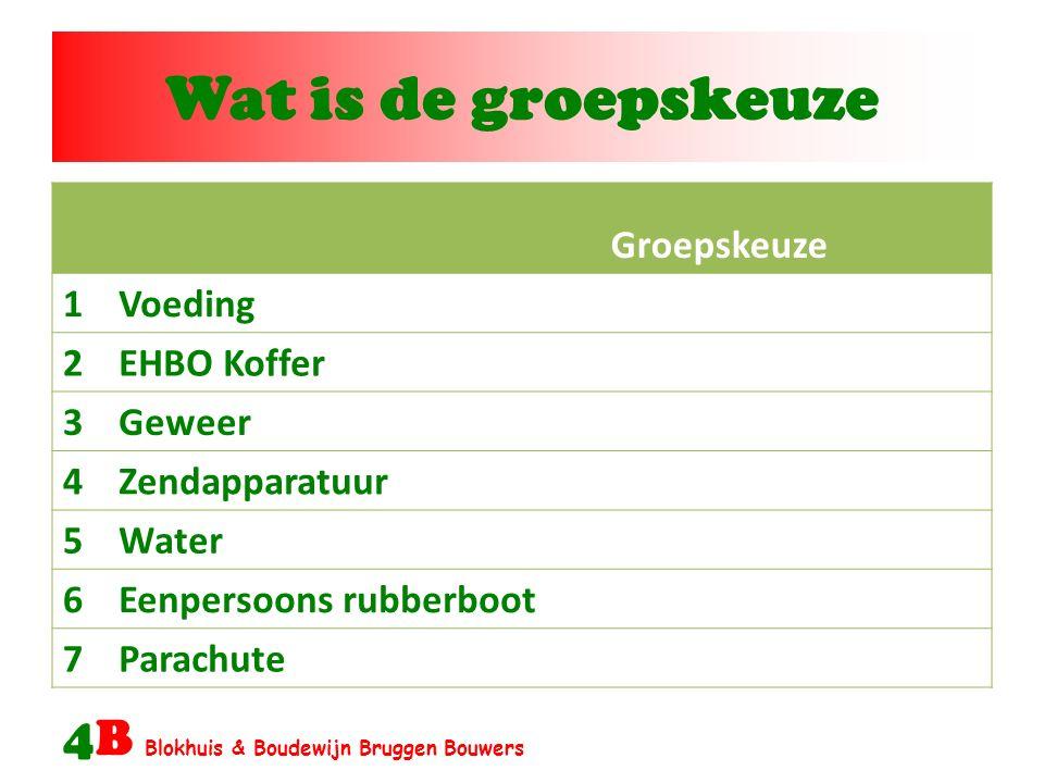 Wat is de groepskeuze 4B Blokhuis & Boudewijn Bruggen Bouwers Groepskeuze 1Voeding 2EHBO Koffer 3Geweer 4Zendapparatuur 5Water 6Eenpersoons rubberboot 7Parachute