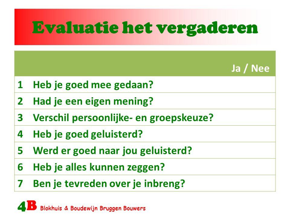 Evaluatie het vergaderen 4B Blokhuis & Boudewijn Bruggen Bouwers Ja / Nee 1Heb je goed mee gedaan.