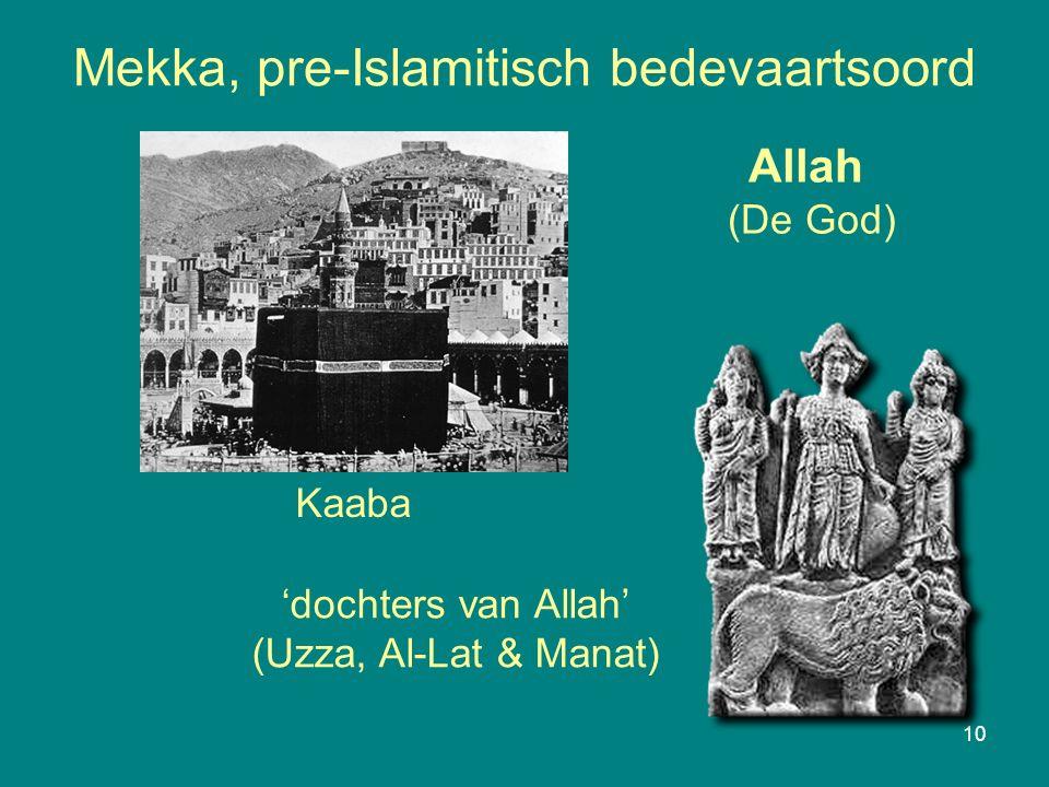 Mekka, pre-Islamitisch bedevaartsoord 10 Kaaba Allah (De God) 'dochters van Allah' (Uzza, Al-Lat & Manat)