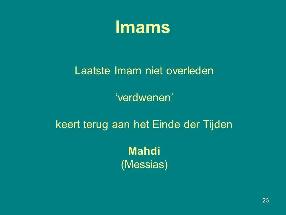 23 Imams Laatste Imam niet overleden 'verdwenen' keert terug aan het Einde der Tijden Mahdi (Messias)