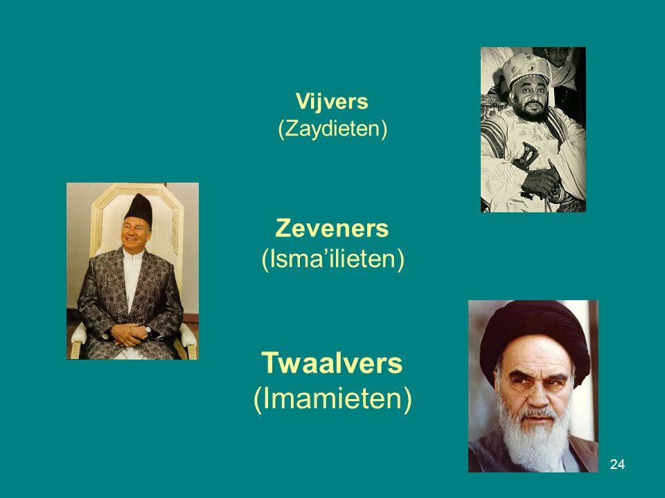 24 Vijvers (Zaydieten) Zeveners (Isma'ilieten) Twaalvers (Imamieten)