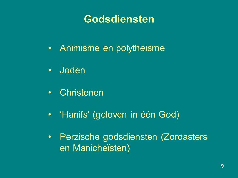 Godsdiensten 9 Animisme en polytheïsme Joden Christenen 'Hanifs' (geloven in één God) Perzische godsdiensten (Zoroasters en Manicheïsten)