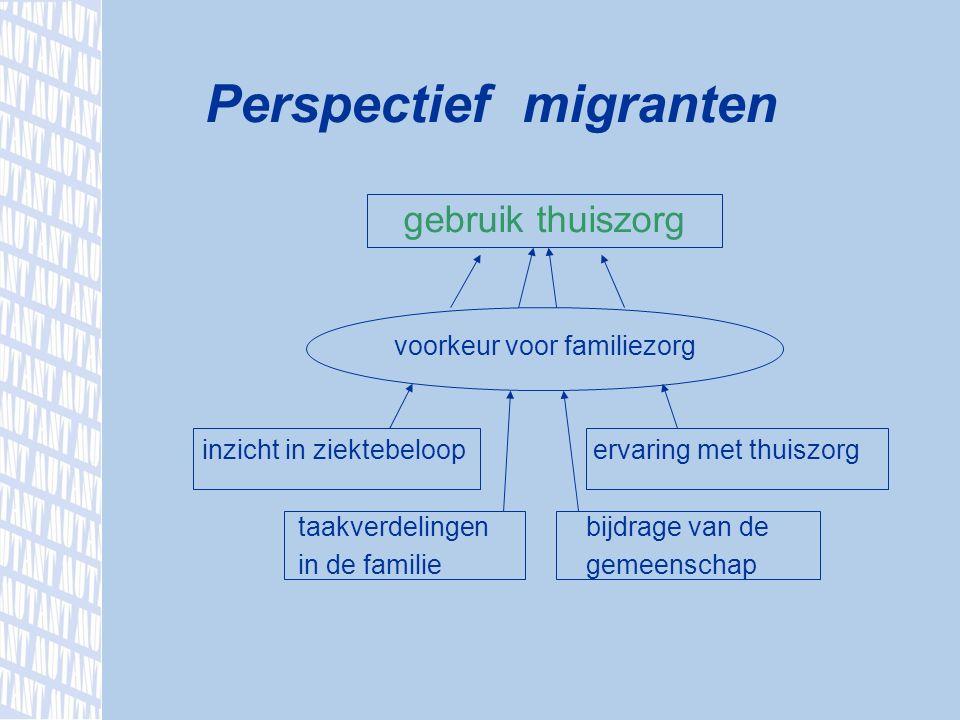 gebruik thuiszorg voorkeur voor familiezorg inzicht in ziektebeloop ervaring met thuiszorg taakverdelingenbijdrage van de in de familiegemeenschap Perspectief migranten