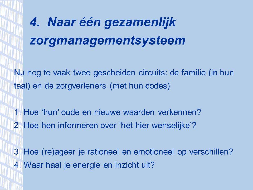 4. Naar één gezamenlijk zorgmanagementsysteem Nu nog te vaak twee gescheiden circuits: de familie (in hun taal) en de zorgverleners (met hun codes) 1.