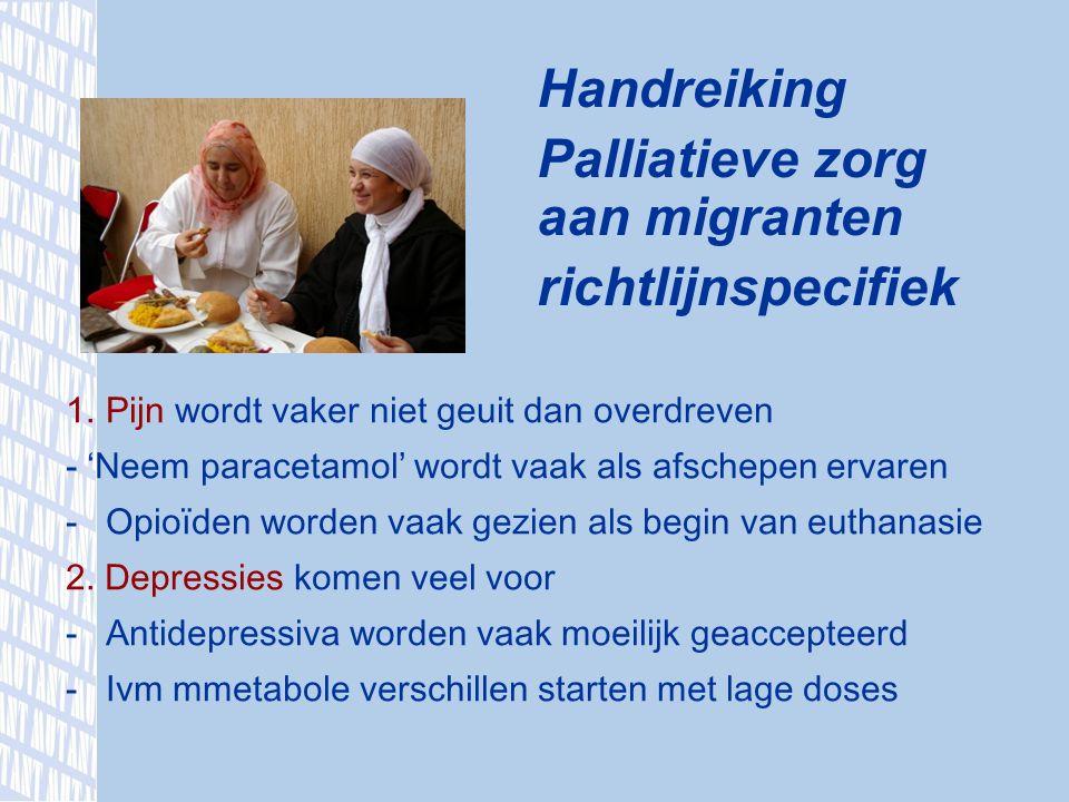 Handreiking Palliatieve zorg aan migranten richtlijnspecifiek 1.Pijn wordt vaker niet geuit dan overdreven - ' Neem paracetamol ' wordt vaak als afschepen ervaren -Opio ï den worden vaak gezien als begin van euthanasie 2.
