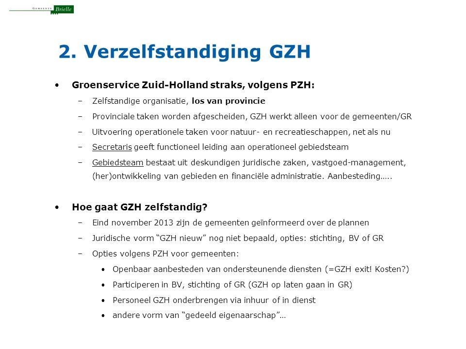 2. Verzelfstandiging GZH Groenservice Zuid-Holland straks, volgens PZH: –Zelfstandige organisatie, los van provincie –Provinciale taken worden afgesch