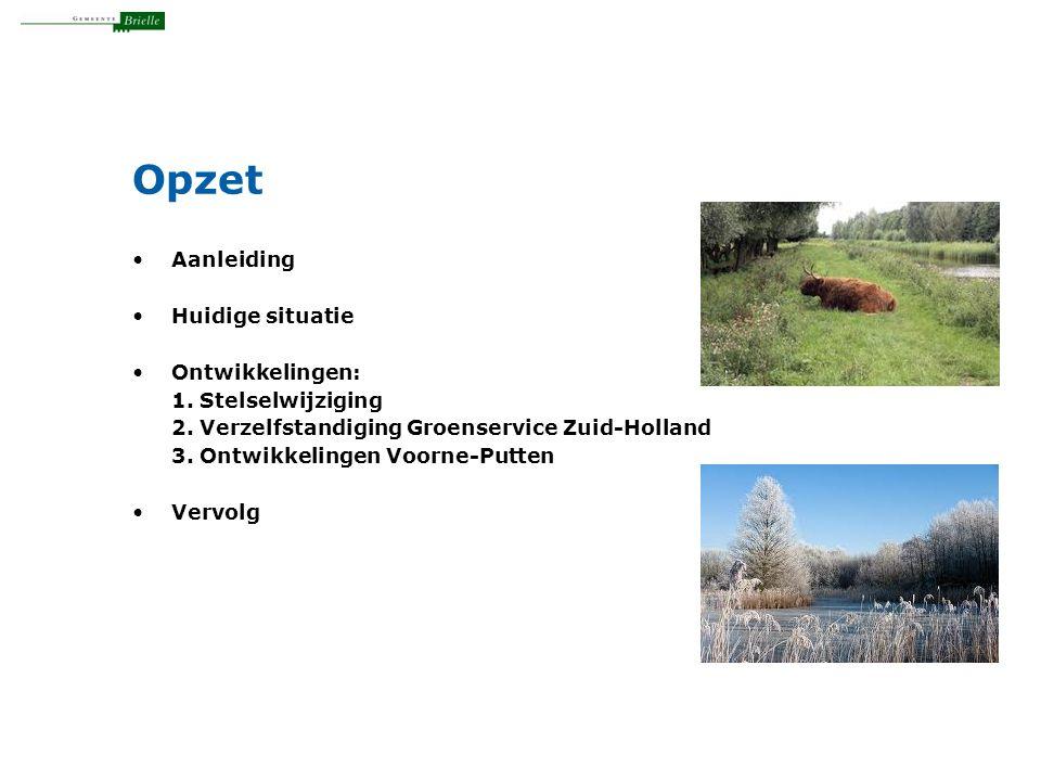 Opzet Aanleiding Huidige situatie Ontwikkelingen: 1. Stelselwijziging 2. Verzelfstandiging Groenservice Zuid-Holland 3. Ontwikkelingen Voorne-Putten V