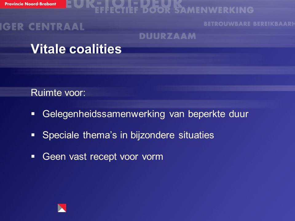 Vitale coalities Ruimte voor:  Gelegenheidssamenwerking van beperkte duur  Speciale thema's in bijzondere situaties  Geen vast recept voor vorm