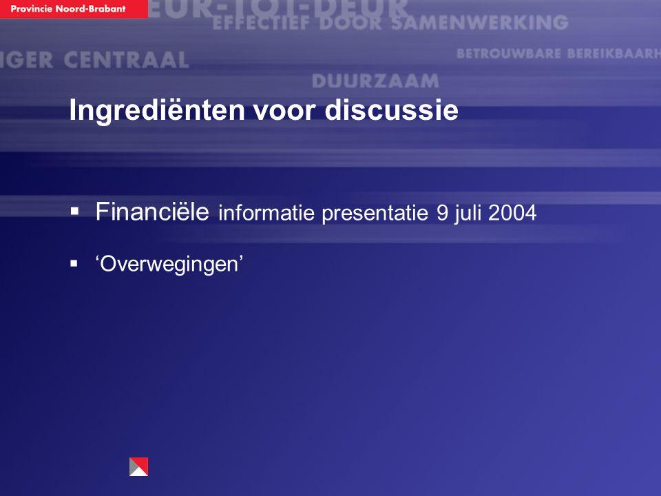 Ingrediënten voor discussie  Financiële informatie presentatie 9 juli 2004  'Overwegingen'