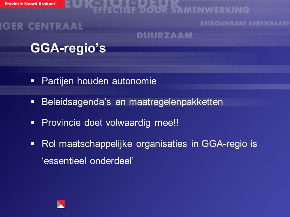 GGA-regio's  Partijen houden autonomie  Beleidsagenda's en maatregelenpakketten  Provincie doet volwaardig mee!!  Rol maatschappelijke organisatie