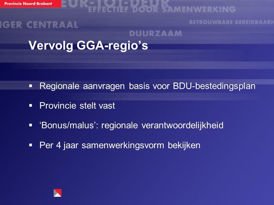 Vervolg GGA-regio's  Regionale aanvragen basis voor BDU-bestedingsplan  Provincie stelt vast  'Bonus/malus': regionale verantwoordelijkheid  Per 4 jaar samenwerkingsvorm bekijken