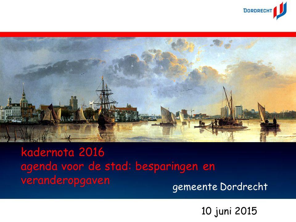 10jun15bezuinigingen en veranderingen - Marco Kramer 1 kadernota 2016 agenda voor de stad: besparingen en veranderopgaven gemeente Dordrecht 1 10 juni 2015