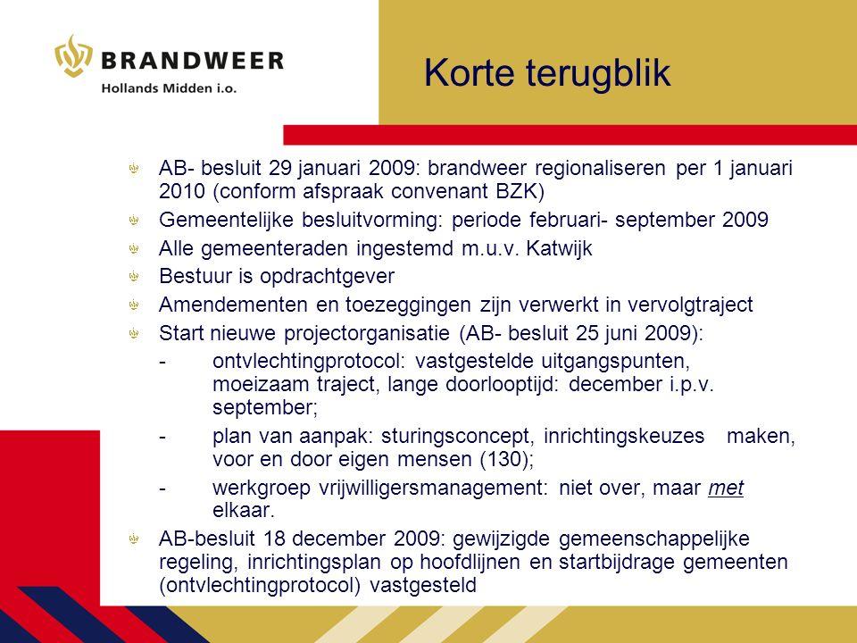Korte terugblik AB- besluit 29 januari 2009: brandweer regionaliseren per 1 januari 2010 (conform afspraak convenant BZK) Gemeentelijke besluitvorming