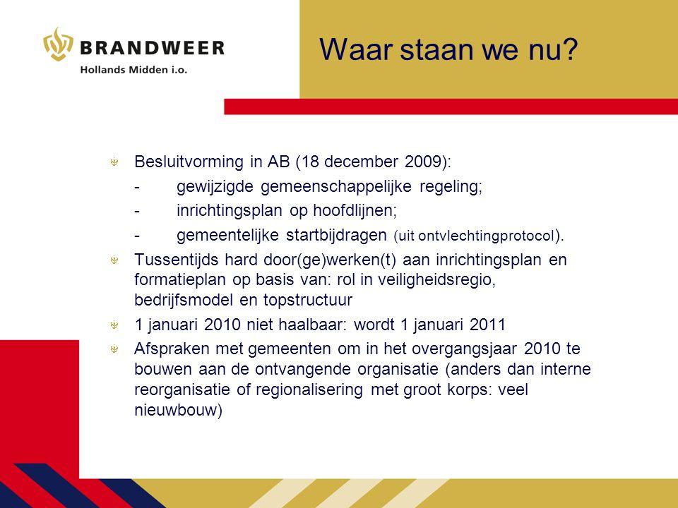 Waar staan we nu? Besluitvorming in AB (18 december 2009): -gewijzigde gemeenschappelijke regeling; -inrichtingsplan op hoofdlijnen; -gemeentelijke st