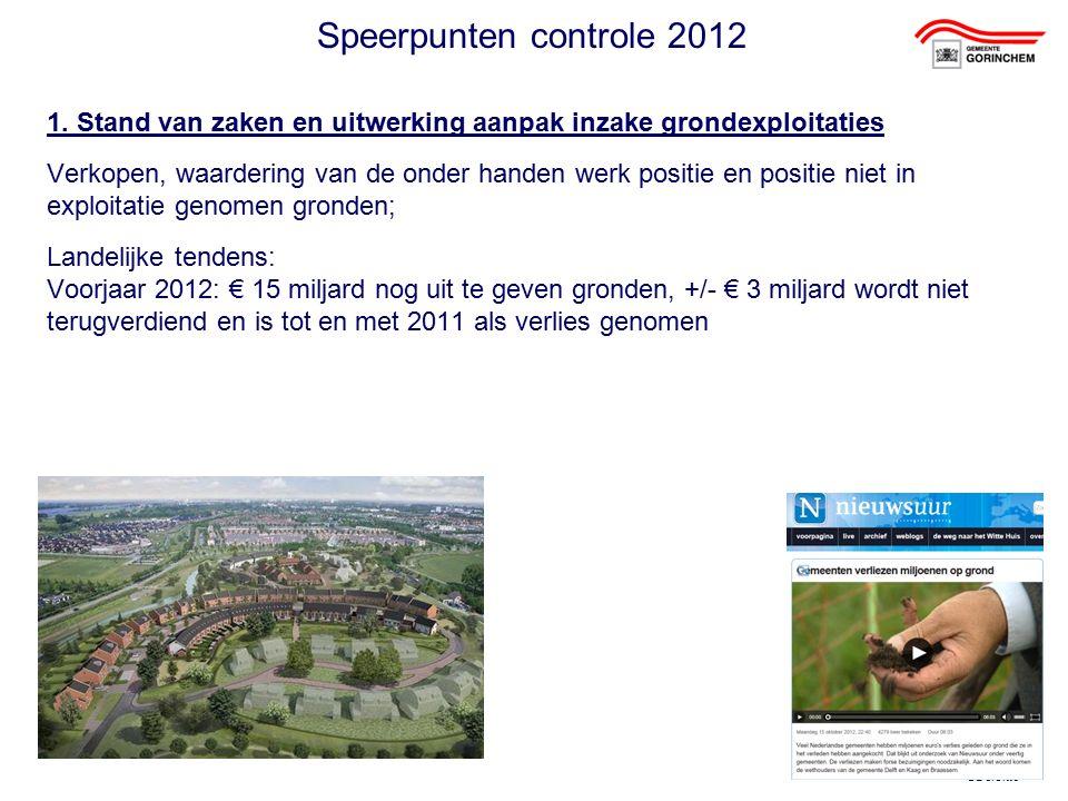 ©Deloitte Speerpunten controle 2012 1. Stand van zaken en uitwerking aanpak inzake grondexploitaties Verkopen, waardering van de onder handen werk pos