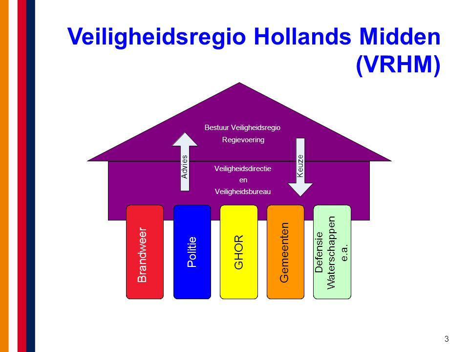3 Veiligheidsregio Hollands Midden (VRHM) Bestuur Veiligheidsregio Regievoering Veiligheidsdirectie en Veiligheidsbureau BrandweerPolitieGHORGemeenten Defensie Waterschappen e.a.