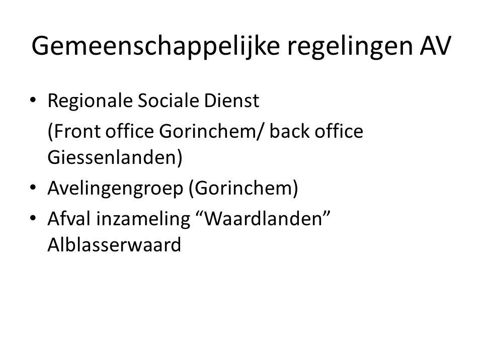 Gemeenschappelijke regelingen AV Regionale Sociale Dienst (Front office Gorinchem/ back office Giessenlanden) Avelingengroep (Gorinchem) Afval inzameling Waardlanden Alblasserwaard