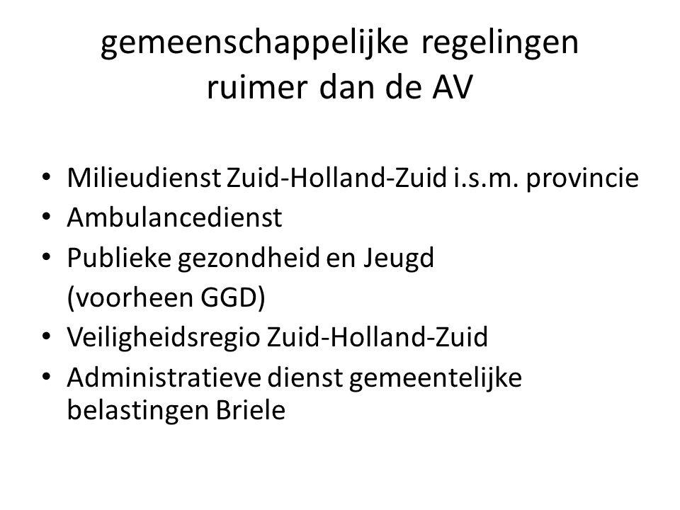 gemeenschappelijke regelingen ruimer dan de AV Milieudienst Zuid-Holland-Zuid i.s.m.