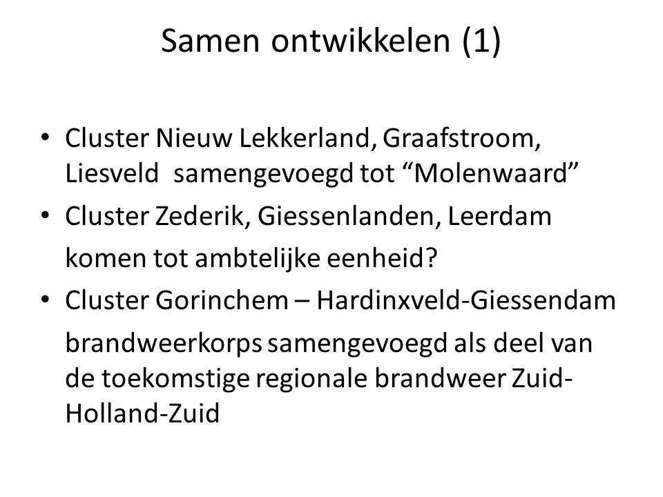Samen ontwikkelen (1) Cluster Nieuw Lekkerland, Graafstroom, Liesveld samengevoegd tot Molenwaard Cluster Zederik, Giessenlanden, Leerdam komen tot ambtelijke eenheid.