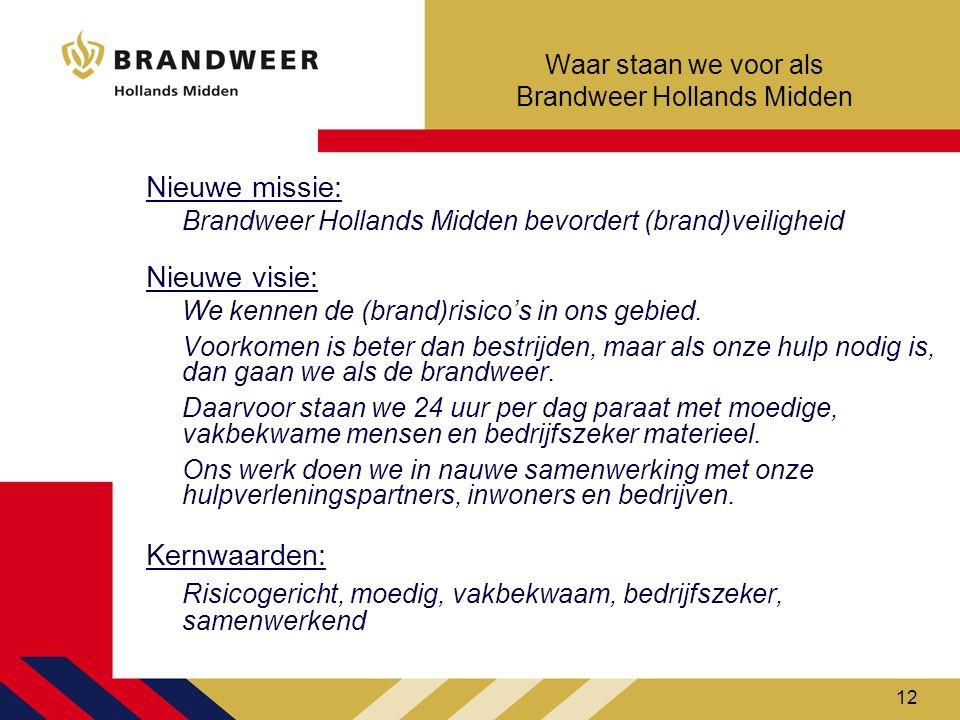12 Waar staan we voor als Brandweer Hollands Midden Nieuwe missie: Brandweer Hollands Midden bevordert (brand)veiligheid Nieuwe visie: We kennen de (b
